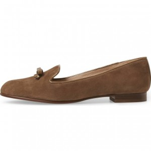 Brown Suede Bow Flats Loafers for Women