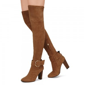 Brown Suede Chunky Heel Boots Oversize Buckle Over-the-Knee Long Boots