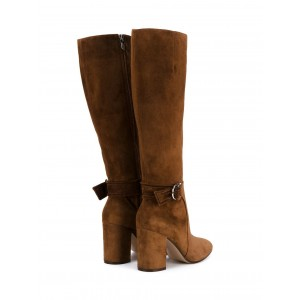 Brown Suede Chunky Heel Boots Round Toe Buckles Knee-high Long Boots