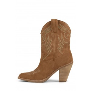 Tan Suede Cowgirl Boots Chunky Heel Mid-Calf Boots