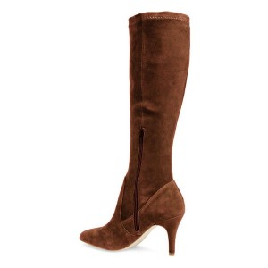 Brown Suede Knee-high Stiletto Boots for Women