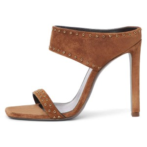 Brown Suede Open Toe Cut Out Mule Heels