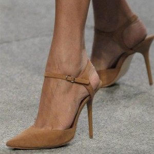 Brown Suede Slingback Heels Ankle Strap Stiletto Heel Pumps