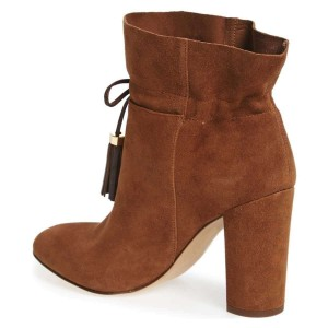 Brown Suede Tassel Chunky Heel boots Ankle Boots