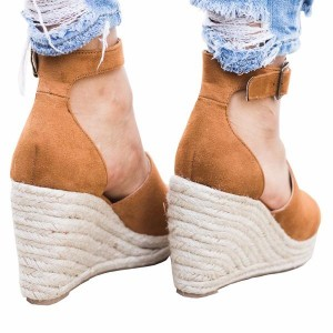 Women's Suede Wedge Sandals Open Toe Ankle Strap Sandals
