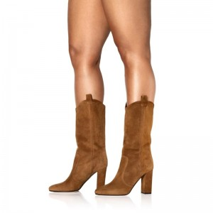 Brown Suede Western Boots Chunky Heel Mid Calf Boots