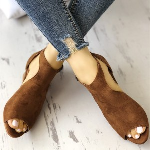 Brown T Strap Peep Toe Wedge Sandals Vintage Shoes for Women