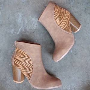 Brown Vintage Boots Block Heels Round Toe Suede Ankle Boots