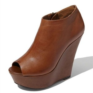 Brown Wedge Heels Platform Boots Peep Toe Ankle Booties with Zipper