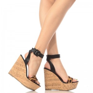 Brown Wedge Sandals Leopard Print Heels Vintage Ankle Strap Sandals