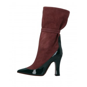 Burgundy and Green Suede Patent Leather Chunky Heel Mid Calf Boots
