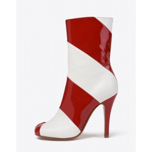 Burgundy and White Patent Leather Stiletto Heel Ankle Booties