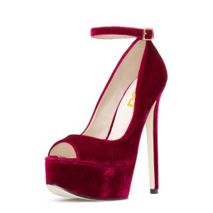 Burgundy Velvet Heels Peep Toe Ankle Strap Stiletto Heel Pumps