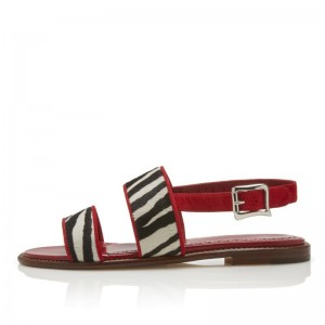 Burgundy Flat Sandals Black and White Zebra Horse Fur Slingback Sandal