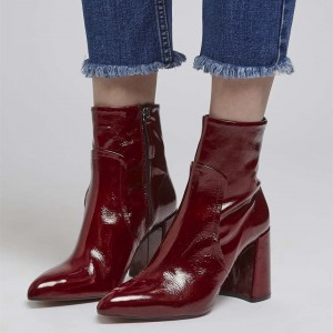 Burgundy Block Heel Ankle Booties