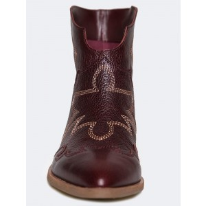 Maroon Slip on Boots Low Heel Fashion Boots