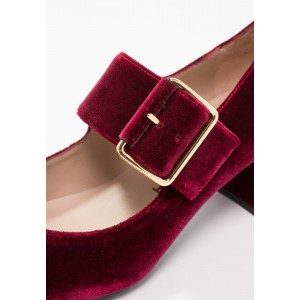 Burgundy Velvet Block Heels Round Toe Buckle Mary Jane Pumps