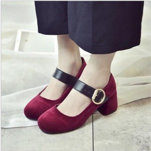 Burgundy Block Heels Round Toe Mary Jane Pumps for Women