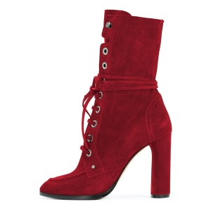 Red Suede Lace up Boots Round Toe Chunky Heel Mid Calf Boots