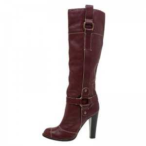 Burgundy Buckle Long Boots Chunky Heel Knee High Boots