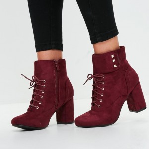 Burgundy Chunky Heel Boots Suede Almond Toe Lace up Ankle Booties