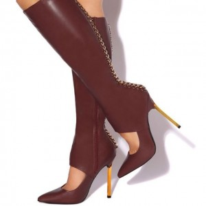 Burgundy Fashion Boots Cut Out Pointy Toe Stiletto Heel Knee High Boot
