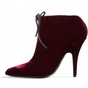 Burgundy Fashion Boots Stiletto Heel Lace Up Ankle Boots