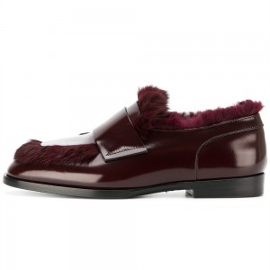 Burgundy Furry Loafers For Women
