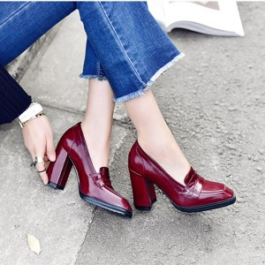 Burgundy Patent Leather Block Heel Square Toe Heeled Loafers for Women