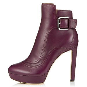 Burgundy Joint Platform Boots Buckle Ankle Boots