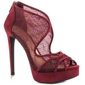 Burgundy Lace Heels Cutout Platform Vampire Pumps for Halloween