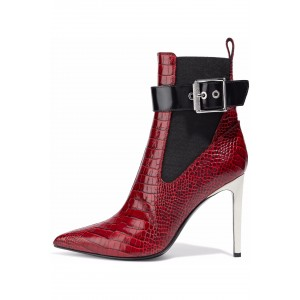 Burgundy Lizard Texture Chelsea Boots Buckle Stiletto Heel Ankle Boots