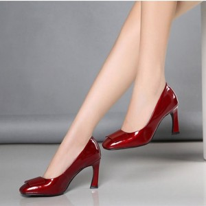 Burgundy Office Heels Square Toe Patent Leather Spool Heel Pumps