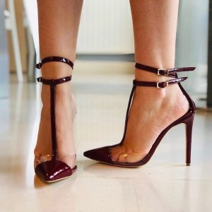 Burgundy Patent Leather Clear PVC T Strap Heels Pumps