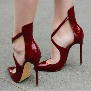 Burgundy Patent Leather Cross Over Stiletto Heels Pumps