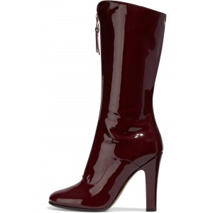 Burgundy Patent Leather Front Zip Ankle Boot chunky Heel Boots