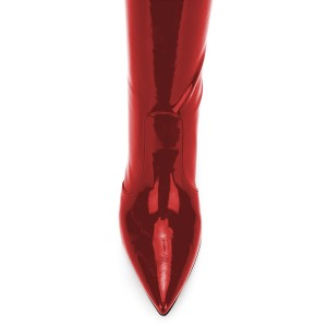 Burgundy Mirror Leather Pointy Toe Thigh High Heel Boots