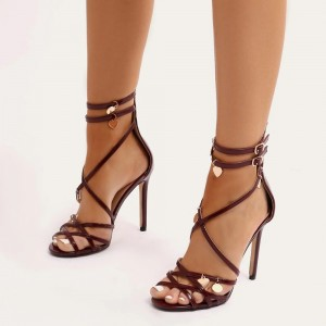 Burgundy Patent Leather Strappy Ankle Strap Sandals with Heart