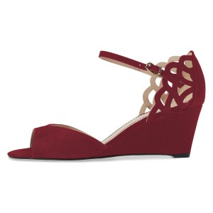 FSJ Burgundy Wedge Sandals Peep Toe Laser Cut Heels