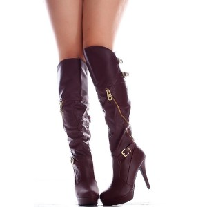 Burgundy Platform Boots Zip Buckle Stiletto Heel Knee High Boots