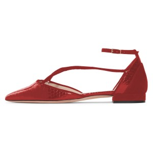Burgundy Pointy Toe Flats Python Ankle Strap Shoes