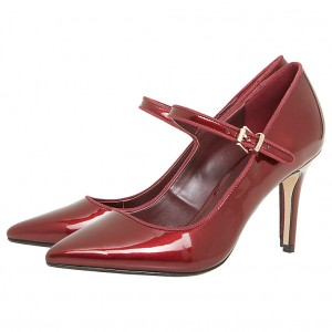 Burgundy Pointy Toe Stiletto Heels Buckle Mary Jane Pumps