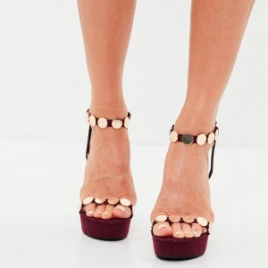 Burgundy Prom Shoes Open Toe Platform Sandals with Studs