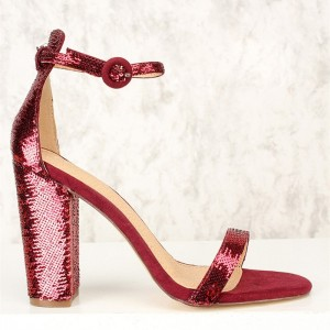 Burgundy Sequined Open Toe Chunky Heels Sandals Prom Shoes