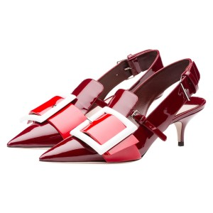 Burgundy Slingback Pumps Patent Leather Pointy Toe Stiletto Heels
