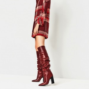 Red Slouch Boots Pointy Toe Chunky Heels Knee-high Boots