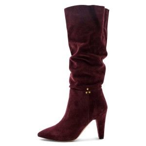 Burgundy Slouch Boots Pointy Toe Chunky Heel Knee High Boots