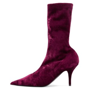 Burgundy Sock Boots Pointy Toe Mid Calf Boots