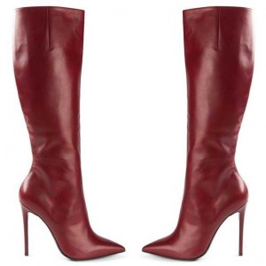 Burgundy Stiletto Boots Sexy Pointy Toe Knee-high Boots