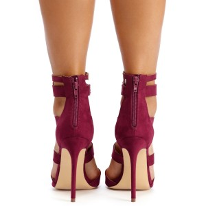 Maroon Hollow out Ankle Strap Sandals Peep Toe Summer Boots